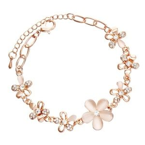 Rose Gold Tone and Cat Eye Bracelet